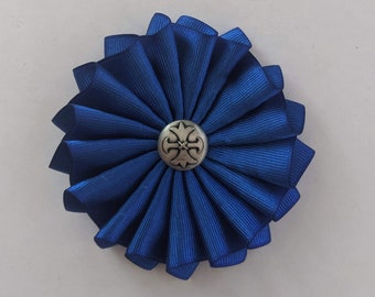 Celtic Wales - Cambria Cross on Folded Ribbon Cockade - Fleury Pattee - Pleated
