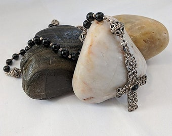 Hinged Sterling Silver Cross & Onyx Beads - Psalter Rosary 16th c.