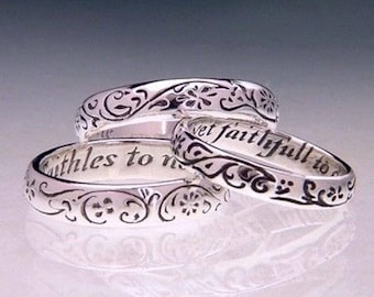 Faithfull to One - Sterling Silver Poesy Ring - Old English