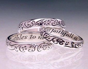 Vintage Faithfull to One - Sterling Silver Poesy Ring - Old English