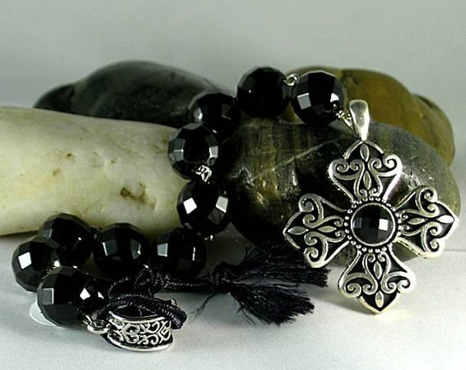 Black Onyx Chaplet Paternoster Rosary with Bottony Cross