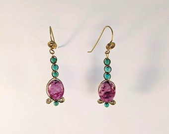 Turquoise & Sugilite Drop Earrings - Native American - Aztec - Southwest