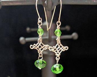 Celtic Cross Earrings - Irish Green Crystals - Leo August Peridot
