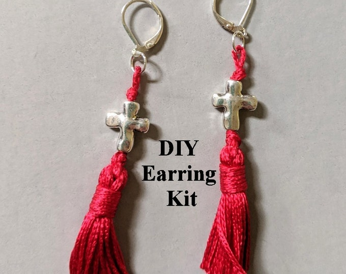 DIY Kit - Silver Cross Tassel Earrings - Instructions & Findings