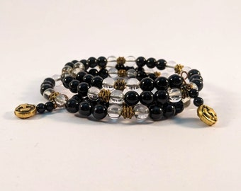 Goddess Heaven and Earth Wire Bracelet - Clear Crystals and Black Onyx