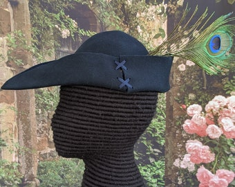 Navy Felt Bycocket - Laced Gothic Hat - Hunter's Cap - SCA Robin Hood Hat