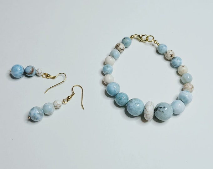 Larimar and Magnesite Bracelet Earring Set - Gemstone Jewelry Set - Larimar Bracelet and Earrings