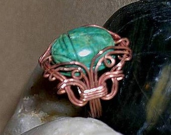 Pharoah Turquoise Scarab Wire Wrapped Copper Ring - Egyptian