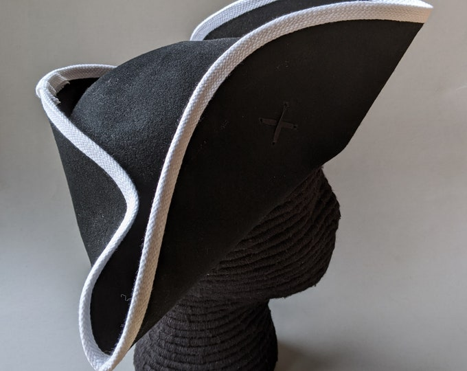 Custom Order For Anthony - Yorktown Military Tricorn - White Edging - American Revolutionary Felt Hat