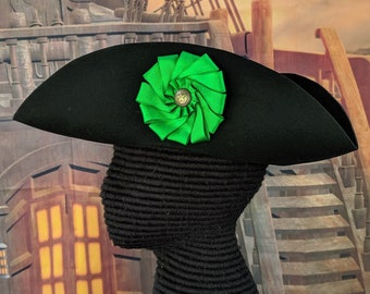 Green Cockade Tricorn - Colonial Subaltern's Felt Hat - Irish 18th c.