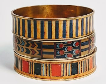 Set of 3 King Tut Bangles - Egyptian Pharoah 18th Dynasty