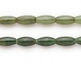 "Oval (11x6mm) Nephrite Jade Beads - Natural Gemstone 16"" Strand"