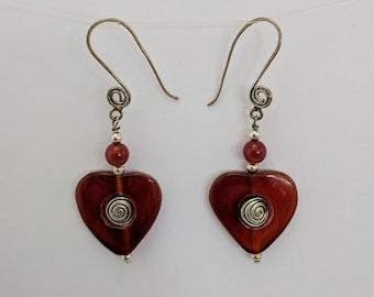 Carnelian Heart with Sacred Spiral Earrings