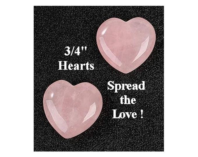 """DIY Spread The Love - 2 Small Rose Quartz 3/4"""" Hearts  - 4th Chakra"""