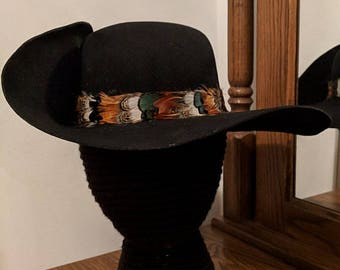 Black Felt Cavalier Hat - Brooch - Asssorted Pheasant Feather Hatband