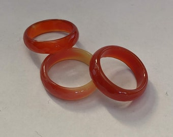 Sexy Faceted Carnelian Band - Creative Gemstone Ring - 2nd Chakra