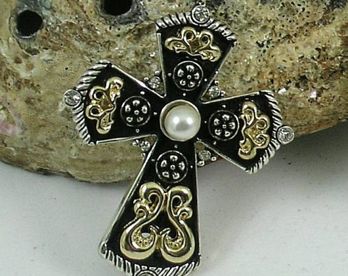 Pearl & Jet Paternoster Rosary with Black Enameled Cross and Crystals