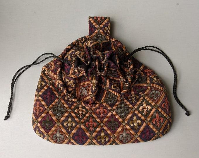 Fleur de Lis Drawstring Ring Belt Pouch - Game Hoop Bag Renaissance