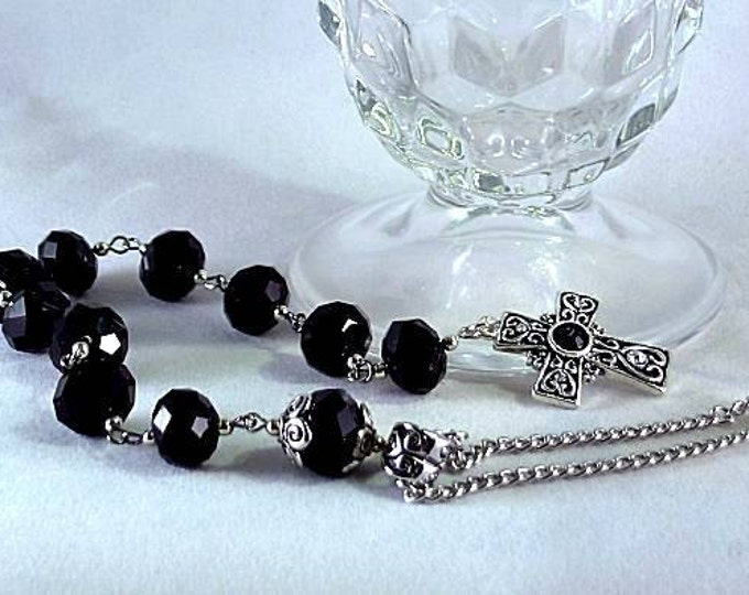 Black Swarovski Crystal Tenner with Celtic Cross - Paternoster Rosary