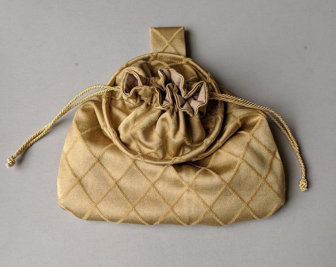In Stock! Gold Diamond Drawstring Belt Pouch - Game Bag Renaissance