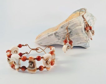 Shell Spiral Bracelet and Earrings Set w/ Natural Shell Beads - Copper