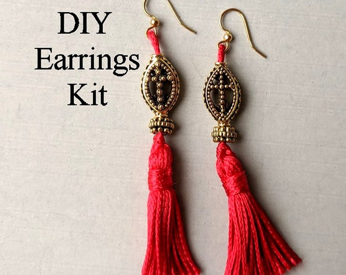 DIY Kit - Gold Cross Red Tassel Earrings B - Instructions & Findings