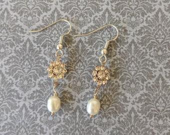 Maria Freshwater Pearls w Clear Swarovski Crystal Earrings - Italian