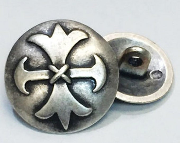3 Cambria Welsh Cross Shank Buttons - Fleury and Formee Pattee Alisee