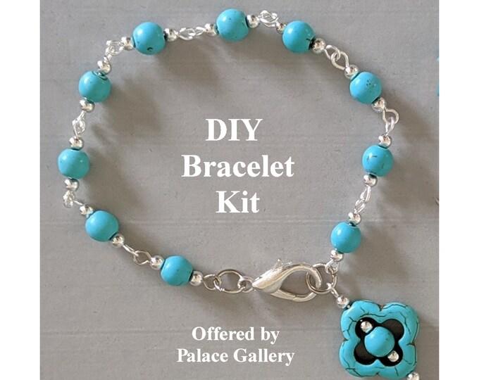 DIY Kit - Lucky Turquoise Quatrefoil Bracelet
