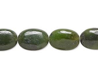 "Flat Oval (14x10mm) Nephrite Jade Beads - Natural Gemstone 16"" Strand"