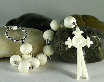 Bone Gothic Cross with Paternosters - Tenner Prayer Beads - Rosary