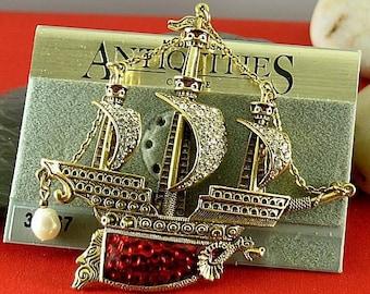 Vintage Red or Black Enameled Ship Brooch - Elizabethan Renaissance Victorian