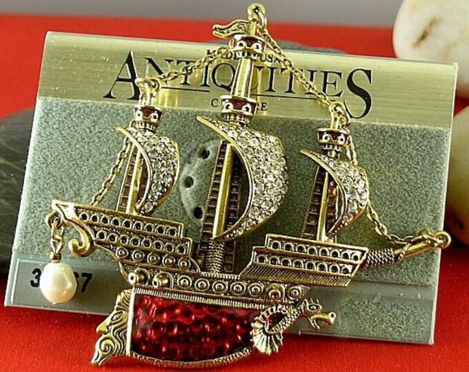 Golden Realm Vintage Ship Brooch - Elizabethan Renaissance Victorian