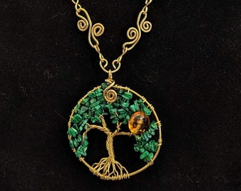 Summer Sun - Tree of Life Pendant - Amber and Malachite