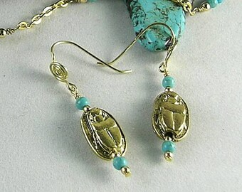 Metal Scarab & Turquoise Beads - Sacred Spiral Ear wires - Egyptian