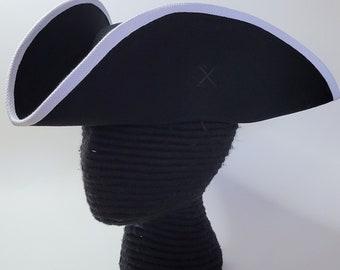 Edge Trimmed Tricorn - Carolean Felt Hat - Colonial Tricorne