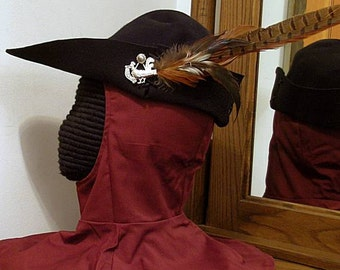 Cocky Rooster Black Bycocket - Pheasant Felt Cap - SCA Robin Hood Hat