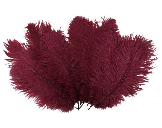 "Burgundy Ostrich Feathers - Medium 9"" - 12"" - Drabs - Dyed Plumes"
