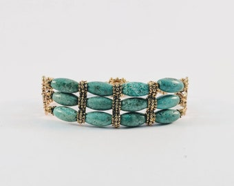 Queen Cleopatra Turquoise Cuff - Triple Stand Bracelet - Egyptian