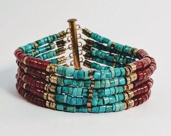 Turquoise Carnelian Heishi Egyptian Bracelet - Princess Sit-Hathor-Yunet