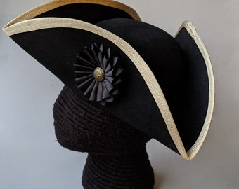 Edge Trimmed Tricorn - Gold Edging - Black Cockade - Colonial Tricorn