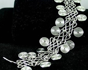 Wire-wrapped Double Spiral Bracelet