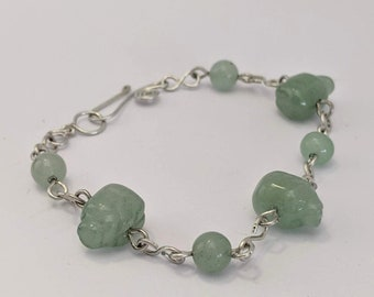 Pig Aventurine Beads - Spiral Bracelet - Healing & Love - 4th Chakra