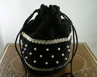 Made to Order - Black or Burgundy Velveteen Quilted Purse with Pearls - Renaissance