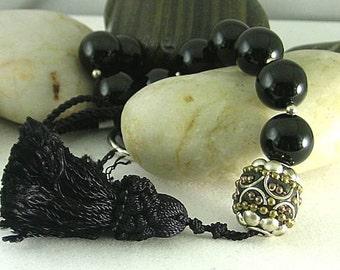 Black Onyx Chaplet Paternoster Rosary with Handmade Bead & Tassel