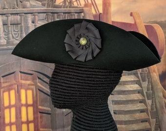 Black Cockade Laced Tricorn - Cocked Hat - Colonial Tricorne - British Cockade