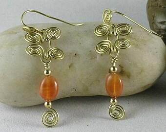 Sacred Spiral Earrings with Carnelian