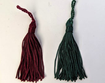 "2 Green or Burgundy 3"" Tassels - Home Decor -  Zipper Pulls - Crafts"