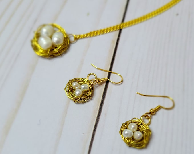 Mother's Day Bird's Nest Necklace and Earring Set - Egg Necklace - Mother's Gift - Nest Necklace