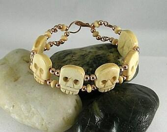 Happy Halloween Gothic Memento Mori Bone Skull Bracelet Copper Wire